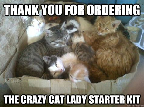 Crazy Cat Lady Meme - thank you for ordering the crazy cat lady starter kit