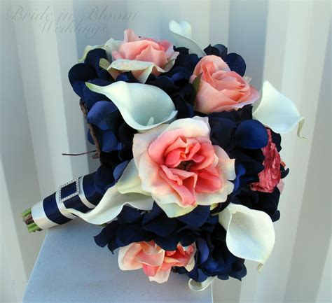 coral flowers coral navy blue wedding bouquet coral navy bouquet calla bridal