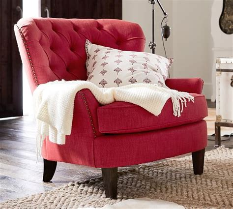 cardiff tufted armchair cardiff tufted upholstered armchair pottery barn