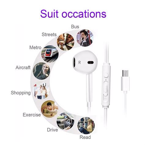 earphone usb type c with mic for letv smartphone white