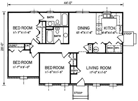 floor plan 1200 sq ft house southern style house plan 3 beds 2 baths 1200 sq ft plan