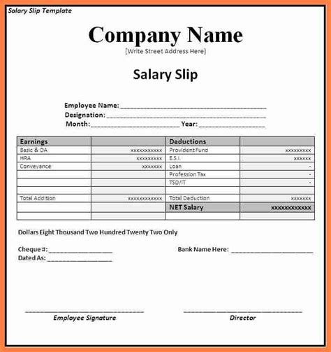 free salary slip or payslip template format for word or pdf vlcpeque
