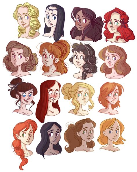 cartoon princess hairstyles left to right top to bottom oletha raven garnet