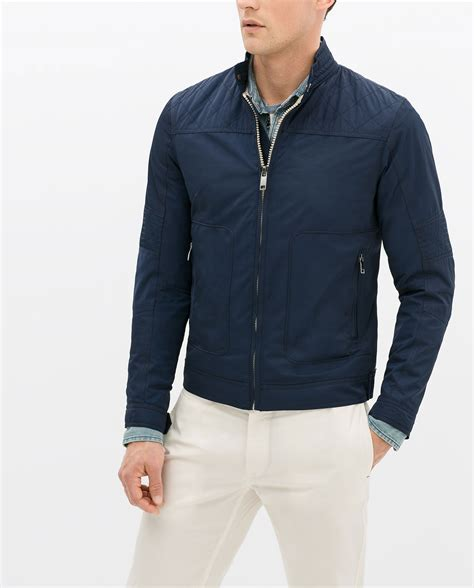 Zara Quilted Jacket With by Zara Jacket With Quilted Shoulder In Blue For Navy