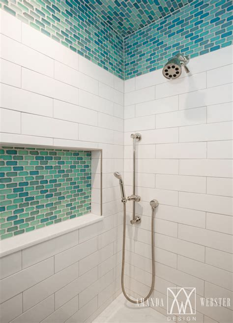 accent tile in shower shower with turquoise accent tile amanda webster design