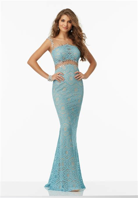 fitted lace prom dress with beaded net illusion style