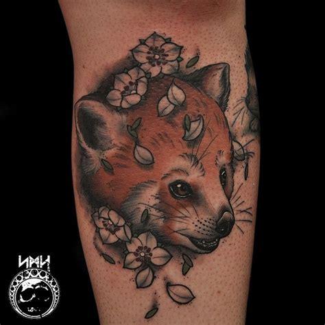 panda face tattoo monarch butterfly tattoo on side leg