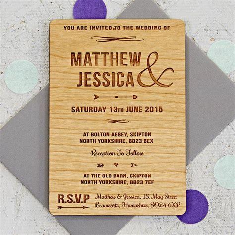 wood wedding invitations arrow wooden wedding invitation by