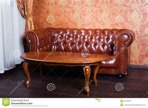 vintage style leather couch leather sofa vintage style luxury interior stock photo