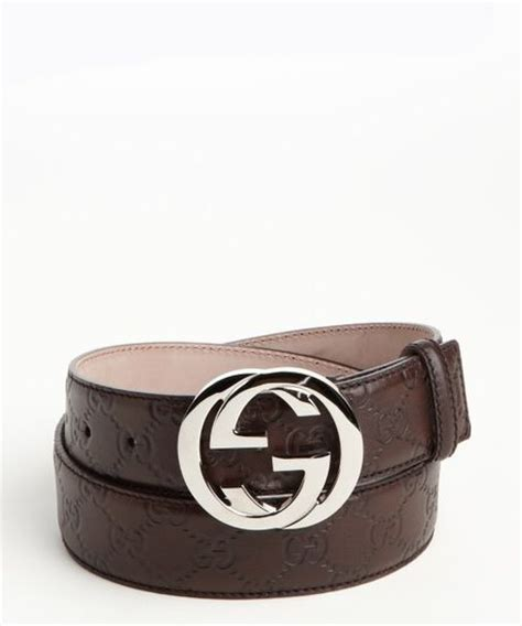 gucci brown ssima leather silver gg buckle belt in brown