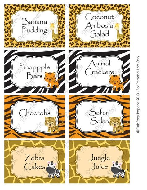 printable jungle labels printable safari baby shower food labels chips and salsa