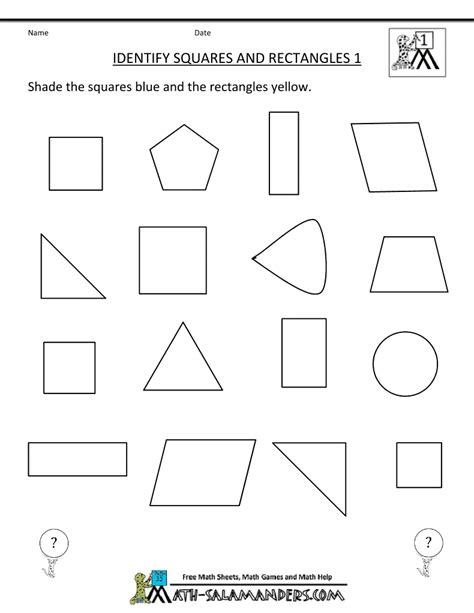 printable shapes for first grade printable shape worksheets 1st grade