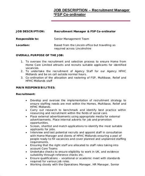 recruiter description for resume 7 recruiter description sles sle templates
