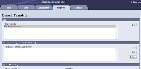 adding network scan templates workcentre 5325 customer