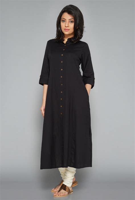 utsa black fab front open kurta kurta designs women