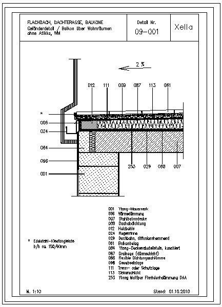 Balkon Richtig Abdichten 600 by Cad Detail 09 001 Gel 228 Nderdetail Balkon 252 Ber Wohnr 228 Umen