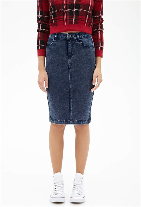 forever 21 high waisted denim skirt in blue lyst