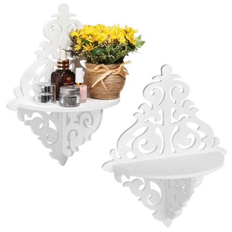 set of 2 scrollwork design white wood wall mounted