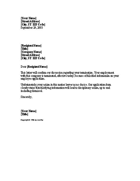 letter of termination template termination letter sle writing professional letters