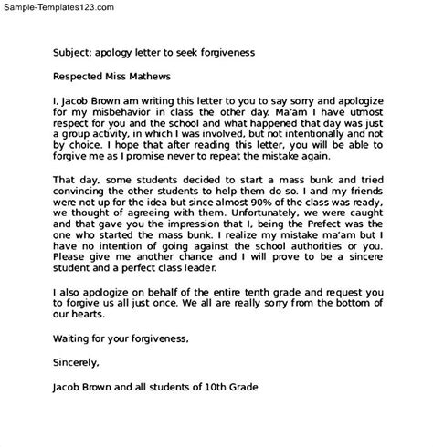 Apology Letter Format For School Apology Letter To For Misbehavior Sle Templates