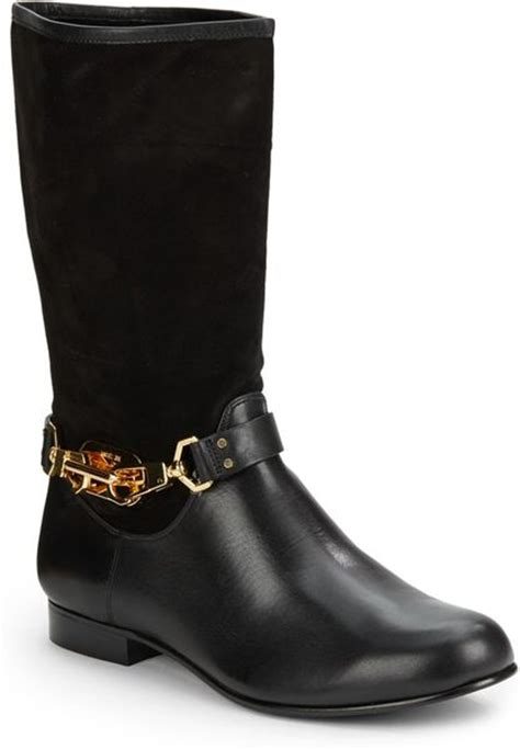 zoe boots zoe january suede leather midcalf boots in black lyst