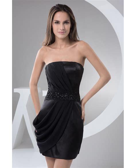 sheath strapless short satin cocktail dress op