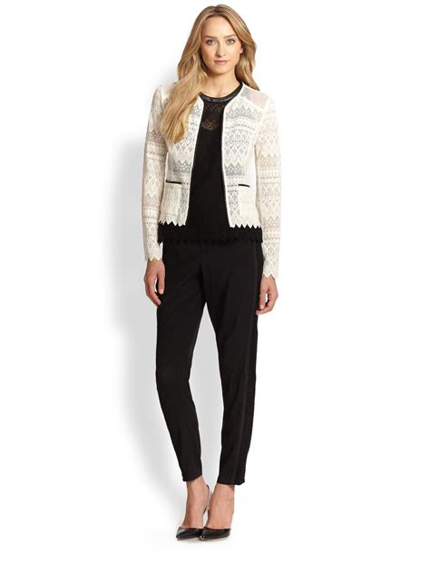 Jaket Cardigan Nanette Lepore Journey Lace Cardigan Jacket In White Lyst