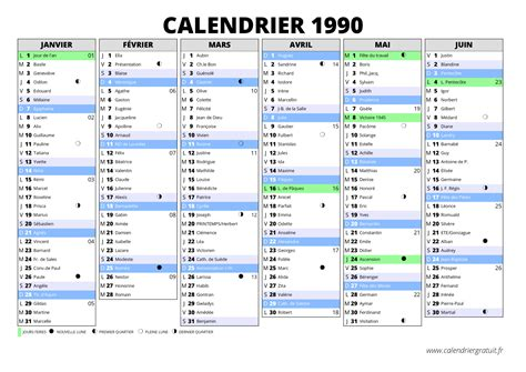 Calendrier De 1990 Calendrier 1990