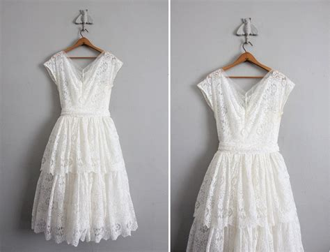 White Vintage Wedding Dresses by 1950s Vintage White Lace Wedding Dress By Allencompany On Etsy