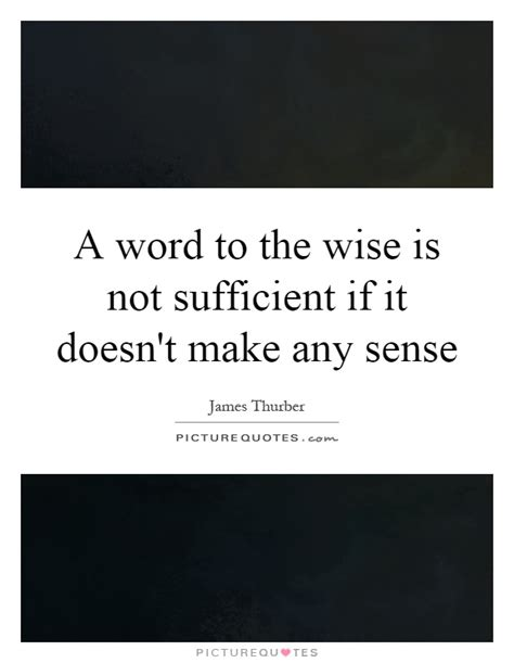 Doesnt Make Any Sense by A Word To The Wise Is Not Sufficient If It Doesn T Make