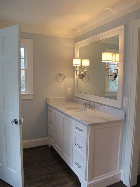 dark paint small bathroom white vanity with dark wood flooring home pinterest