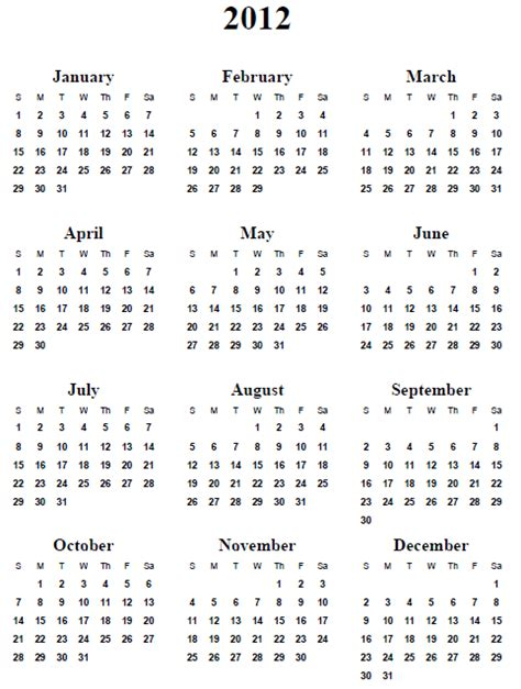 Printable Yearly Calendar For 2012 | 5 best images of printable 2012 calendar year 2012