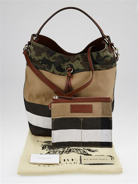 Burberry Check Canvas Hobo Bag Bliss by Burberry Russet Brown Check Camouflage Canvas Medium