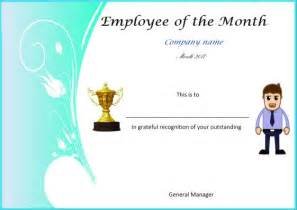 Employee Of The Month Poster Template by And Employee Of The Month Certificate
