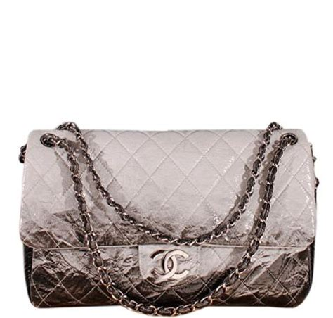 Tisdale And Chanel Jumbo Flap Handbag by Chanel Jumbo Flap Bag Grey Black Patent Leather Baghunter