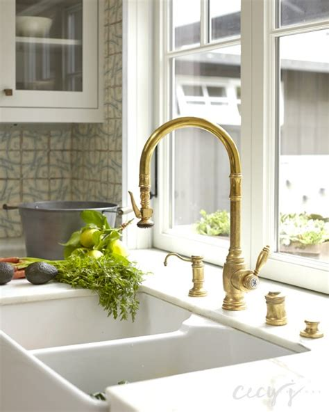 gold kitchen sink faucet dual apron sink and gold gooseneck faucet cottage kitchen