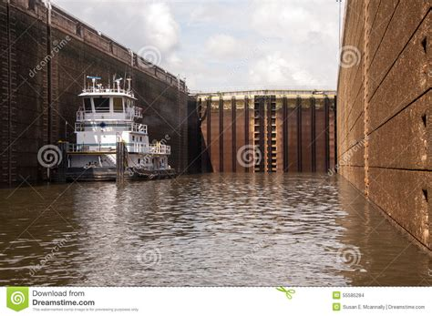 tugboat inside tugboat inside a lock stock photo image 55585284