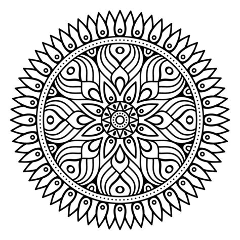 mandala outline without color vector free download