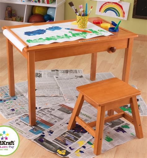 kids art table with paper roll new kidkraft wooden kids art play table with stool paper
