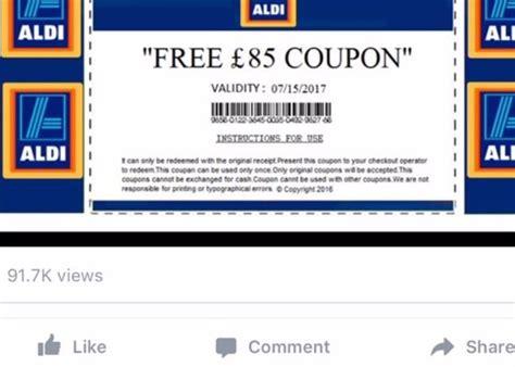 printable aldi vouchers aldi free 163 85 voucher scam fake coupon doing the rounds