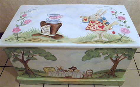 custom personalized tea party toy box inspired  alice
