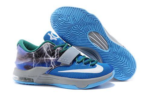 blue kd basketball shoes nike kd 7 basketball shoes lighting blue grey silver