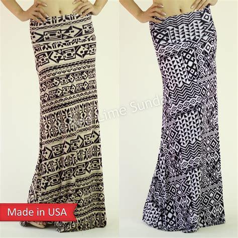 black pattern maxi skirt new aztec tribal pattern black white taupe fold over