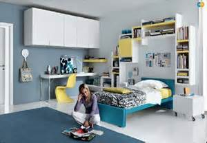 Simple blue yellow teen bedroom front idea decobizz com