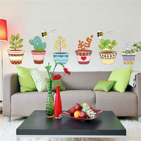 glass home decor free shipping cartoon flower bee wall stickers beautiful