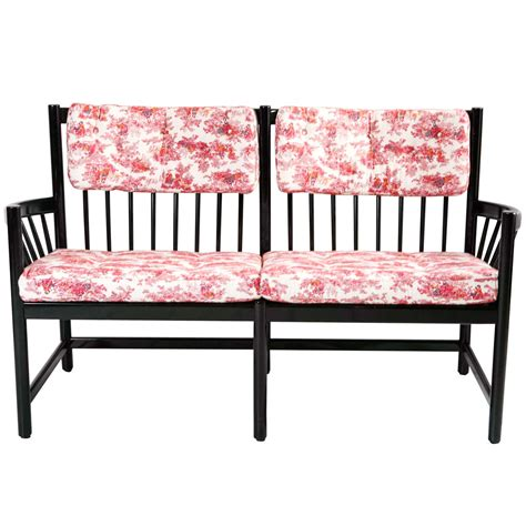windsor style bench black lacquer and toile de jouy upholstered windsor style