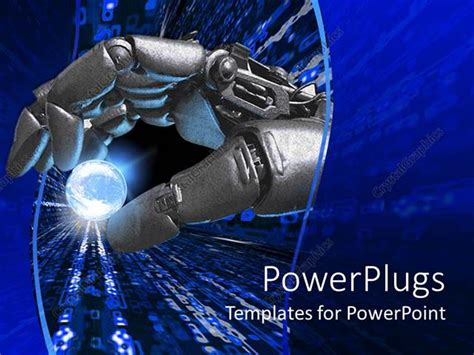 Collection Of Powerpoint Template Robot And Robot Hand With An