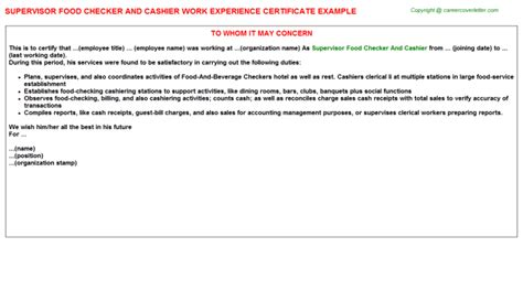 Food Merchandiser Cover Letter by Food Merchandiser Work Experience Letters Sles Templates