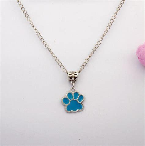 2016 10pcs zinc alloy drop glaze multicolor paw prints charm amulet pendant necklace