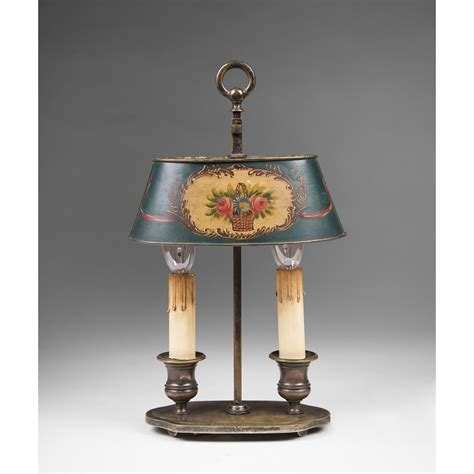 Bouillotte L Shade by Early 20th C Bouillotte L With Tole Peinte